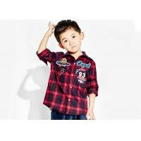 Checked Woven Fabric Kids Boys Clothes Kids Long Sleeve Polo Shirts Soft Manufactures
