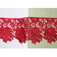 Red Flower Embroidered Lace Trim By The Yard Environmental Protection Manufactures