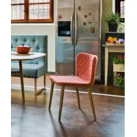 China Wooden Leg Fiberglass Dining Chair Modern Fabric Upholstered Cover 46cm High on sale