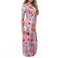 Casual 3 4 Sleeves Summer Floral Maxi Dresses , Petite Length Maxi Dresses For Weddings Manufactures