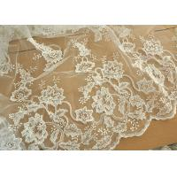 Off White Wedding Dress Tulle Lace Fabric , Embroidery Beaded Ivory Bridal Lace Fabric Manufactures