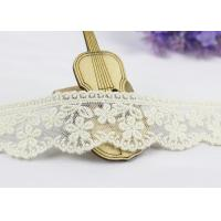 3.5 Width White Cotton Lace Trim By The Yard,  Scalloped Floral Mesh Lace Ribbon Manufactures