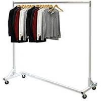 Industrial Heavy-Duty Metal Clothing Display Rack Free Standing Z Shaped Base Manufactures