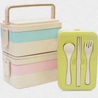 China 3 Layers Wheat Straw Kids Lunch Box , Portable Insulated Lunch Boxes For Adults on sale