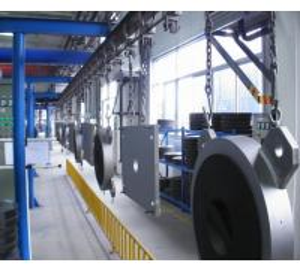 China Steel Door Baking Hanging Conveyor Automated Conveyor Systems Adjustable Speed on sale