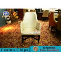 China Oak Wood Custom Gambling Poker Table Chair / Stainless Steel Metal Pulley Leather Hotel Chair on sale