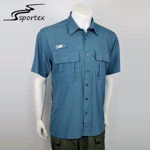 China Promotional Short Sleeve Fishing Shirts Anti Shrink Long Service Life on sale
