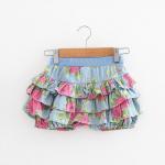 Angou Summer Style Kids Girls Floral Pattern Short Pants Cuffed Leg Cotton