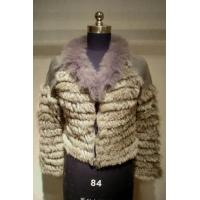 China Knitted Chinchilla Rabbit Fur Coat with Fox Fur Collar on sale