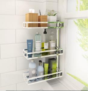 2~4-Tier Rotatable Wall Mounted Bathroom Shelves Bath Racks For Bathroom Counter Top Manufactures