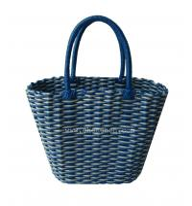 China shiny PE strap handmade PE woven storage baskets on sale