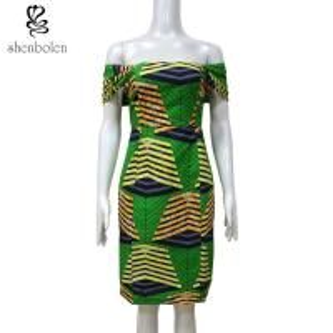 100 % cotton wax fabric Slash Neck African print dress Sexy Slash Neck Collar XS-XXL Manufactures
