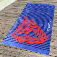 Funny Adults Sailing Printed Beach Towels with Blue Color And Velour Cotton