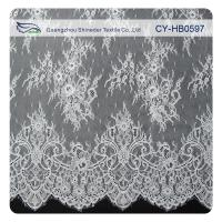 Fashion Nylon Stretch Eyelash Ruffled Lace Trim / Embroidered Lace Fabric Manufactures