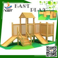 China Indoor Wooden Playground Equipment , Childrens Wooden Playhouse With Slide on sale