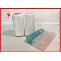Quality 100% Ring Spun Polyester Yarn Raw White For Sewing With Plastic Cone , High Tenacity for sale