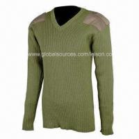 Wool Military Sweater with Embroidery and Silkscreen Printing, Comfortable to Wear Manufactures