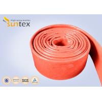 Flame Protection Red High Temp Fiberglass Sleeving Hose And Cable Thermal Barriers