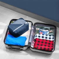 China Blue Nylon Hanging Travel Toiletry Bag for Men and Women Large Cosmetics on sale