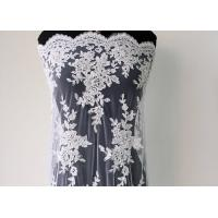 Embroidery Pearl Floral Corded Lace Fabric , White Bridal Lace Fabric With Scalloped Edge  Manufactures