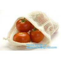 China Recycled grocery shopping fruit reusable produce bag organic cotton mesh bag,100% Certified Organic Cotton Reusable Mesh on sale
