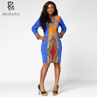 Dashiki Style Bodycon African Print Dresses , Round Neck African Evening Party Dresses Manufactures