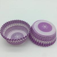 Purple Round Shape Muffin Paper Cups , Striped Cupcake Liners FDA SGS Standard Manufactures
