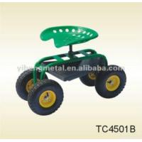China Tractor Style Rolling Garden Seat On Wheels With Tool Tray on sale