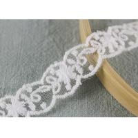White Cotton Nylon Lace Trim Wave Edging Floral Embroidery Lace For Bridal Dress Manufactures