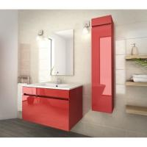 80 Inch Red Single Bathroom Vanity , Good Stability Bathroom Vanity With Sink Manufactures