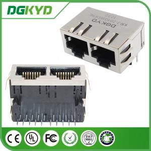 China ODM/OEM factory KRJ-201QWDENL 1000BASE cat 6 dual port Gigabit Ethernet RJ45 Modular Jack Female on sale