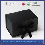 Ribbon Type Rigid Black Cardboard Box With Glossy Varnishing Treatment Manufactures