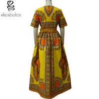 Quality Modern African Print Dresses Dashiki For Elegant V - Neck Classical Print for sale