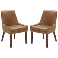 China Rivet Modern Leather Dining Chairs , Welt Trimmed Leather And Metal Dining Chairs 35  H Cognac on sale