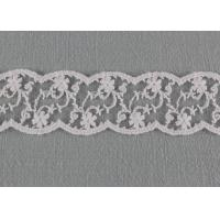 White Floral Embroidered Lace Trim , Cotton Nylon Wave Edging Lace Design Trims Manufactures