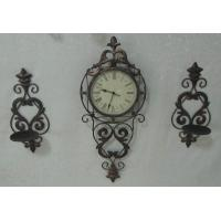 Antique Metal Wall Clock with 2 Candle Holder (SFM0594) Manufactures