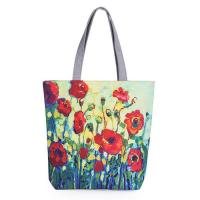 Floral Printed Canvas Casual Womens Reusable Shopping Bags With Logo