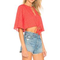 China Boutique Clothing Women Sexy Red Polka Dot Chiffon Summer Blouse on sale