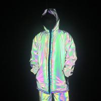 Buy cheap Full Zip Up Face Hood Reflective Coat Mens Rainbow Reflective Jacket Turtleneck from wholesalers