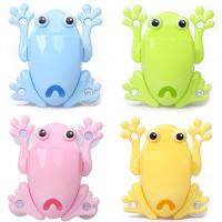 Colorful Frog Plastic Draining Rack , Silicone Plastic Toothbrush Holder Manufactures