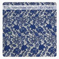 Stretchy Polyester Floral Navy Blue Lace Fabric Trimming Custom Printed Manufactures