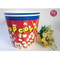 Food Grade Paper Popcorn Buckets With Paper Lid , Top180mm 85oz Paper Cups Manufactures