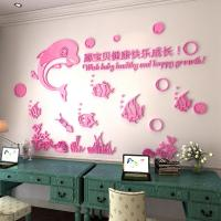 dolphin 3d wall sticker living room sofa background wall