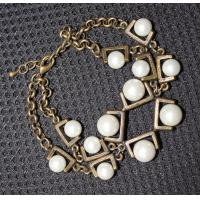 2013 new artificial metal casting jewelry antique gold chain imitated pearl bracelet Manufactures