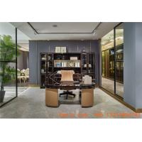 Luxury interior design furniture reading rooms writing desk and Bookcase with glass door in black glossy wood cabinets Manufactures