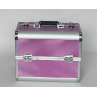 Rose Red Aluminium Beauty Case with Striped ABS Panel Manufactures