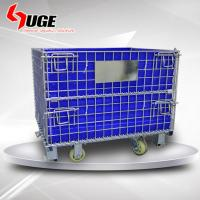 Customized Folding Wire Container / Galvanized Metal Warehouse Storage Cage With Hollow Board Manufactures