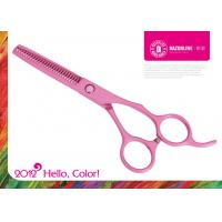 China Pink Teflon Coating Convex-edge 56-57HRC Stainless Steel Hair Thinning Scissors on sale