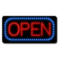 Round Neon Illuminated LED Open Sign With Remote 8-Speed Flashing Option Manufactures