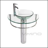 China Vimino Glass Vessel Sink Stainless Steel Bracket Wash Basin Glass Vanity for sale